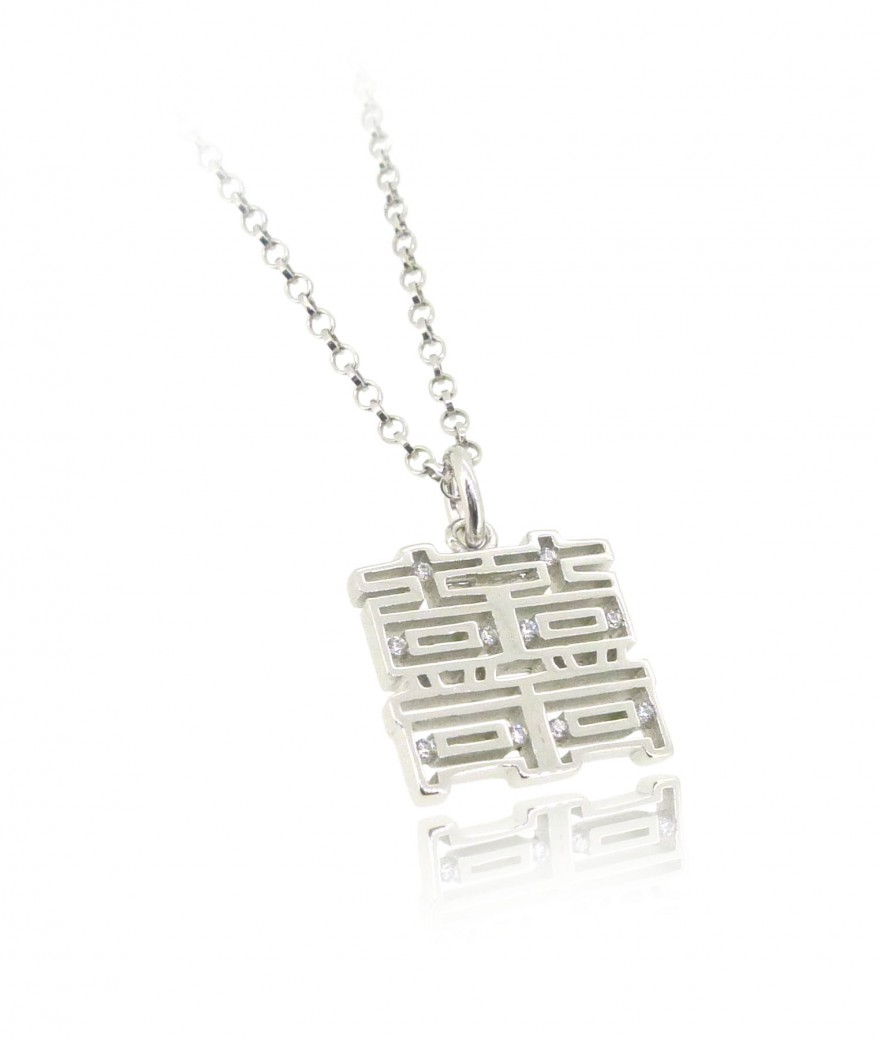 HK197~ 925 Silver <囍> Double Happiness Pendant