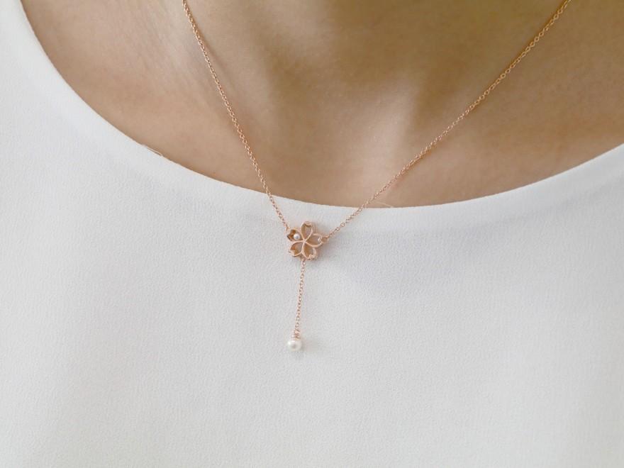 HK182 ~ 925 Silver Sakura Necklace
