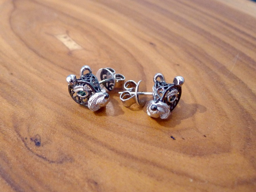 HK241b ~ 925 Silver Dog Shaped Earrings (Schnauzer Edition 2018)