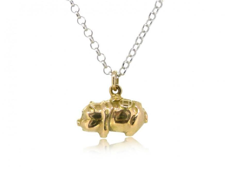HK244~ 18K Gold Piggy Bank Shaped Pendant