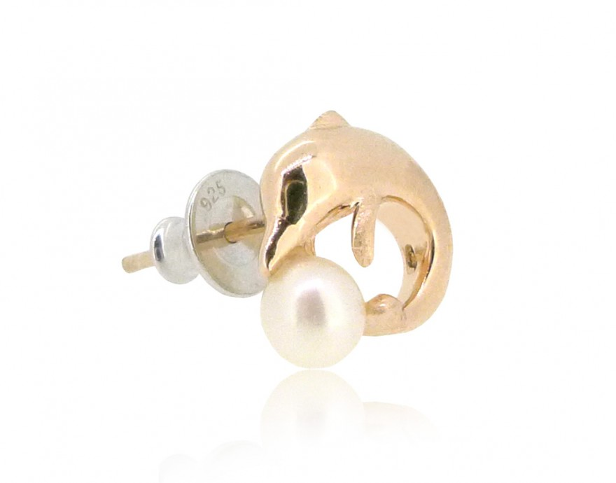 HK189~ Sousa Chinensis Shaped Silver Earring With Natural Pearl