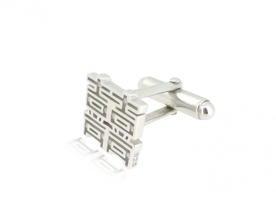 HK211~ 925 Silver <囍> Double Happiness Cufflink