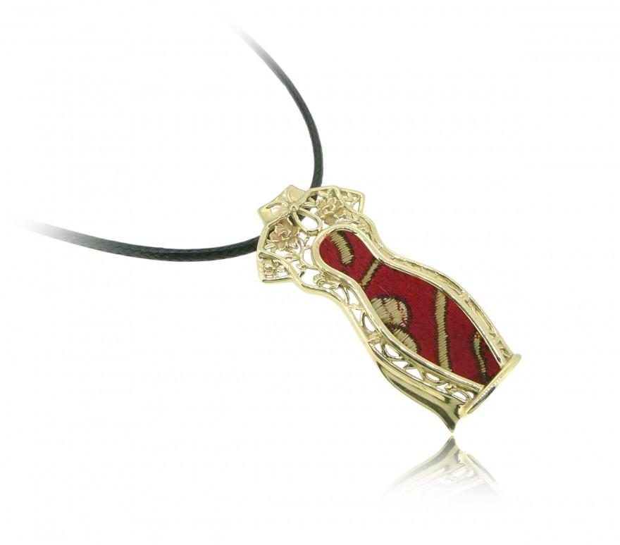 HK143~ [Jīng Yún Jǐn Xiù] 10K Gold Red Cheongsam Pendant