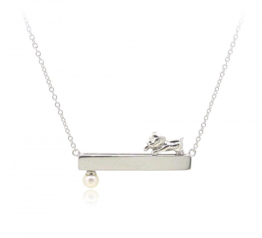 HK238~ Dog Shaped Silver Necklace With Natural Pearl