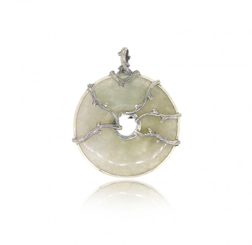 OD078~ 925 Silver Pendant with Jade