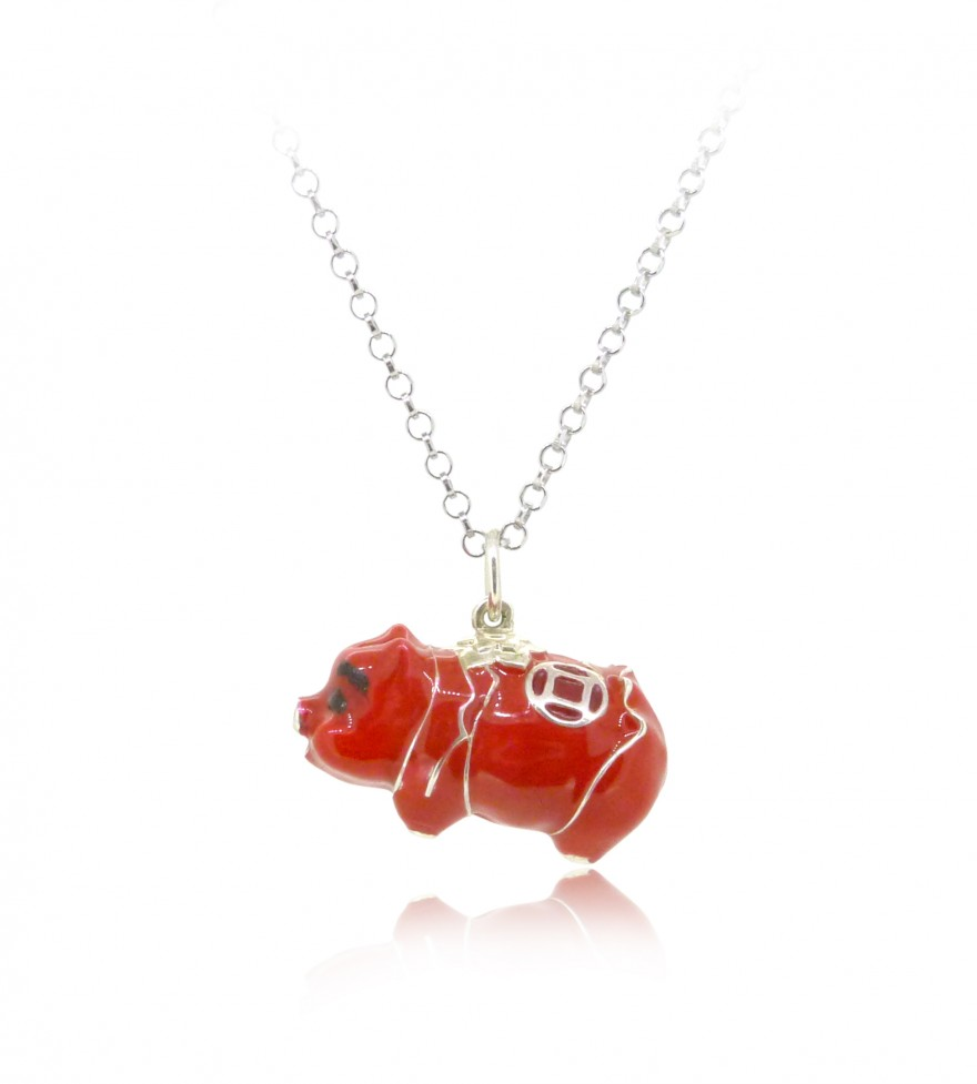 HK246~ 925 Sterling Silver Red Piggy Bank Shaped Pendant