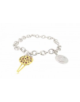"""HK020~ 925 Silver Chinese Pudding Charm(15mm) with 7.5"""" Silver Bracelet"""