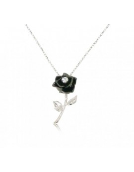 "HK079~ 925 Silver Rose Pendant with 18"" Silver Necklace"