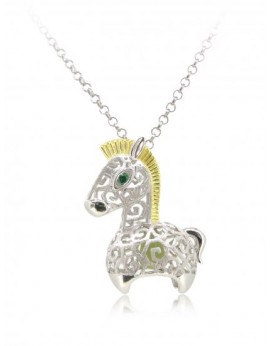 "HK090~ 925 Silver Horse Shaped Lantern Pendant with 18"" Silver Necklace"