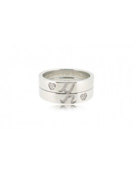 OD024~ 925 Silver Diamond Lovers Rings