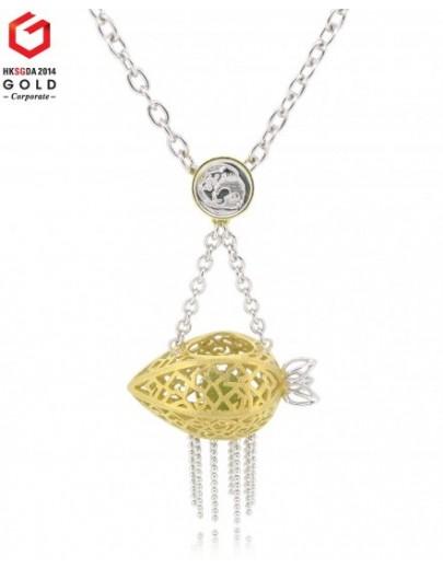 "HK040~ 925 Silver Starfruit Lantern Pendant w/ 18"" Necklace"