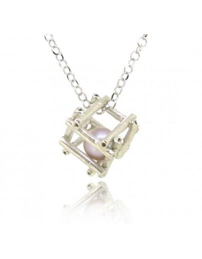 "HK142-P~ 925 Silver Bamboo Scaffolding Pearl Pendant w/ 18"" Necklace"