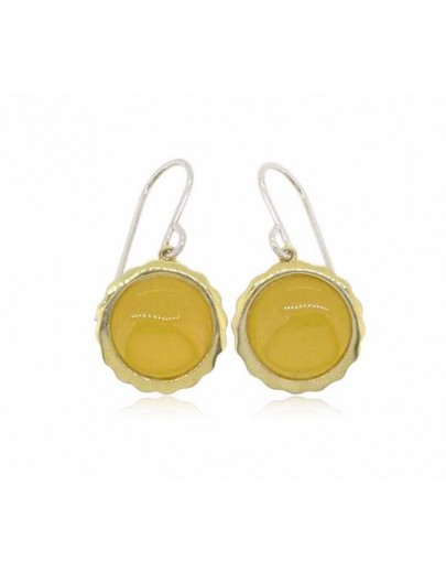 HK015~ 925 Silver Egg Tart Earrings(15mm)with Rice Yellow Jade