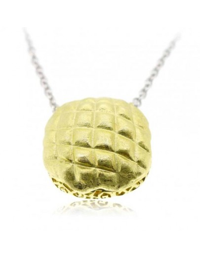 "HK017~ 925 Silver Pineapple Bun (25MM) 20"" Silver Necklace"