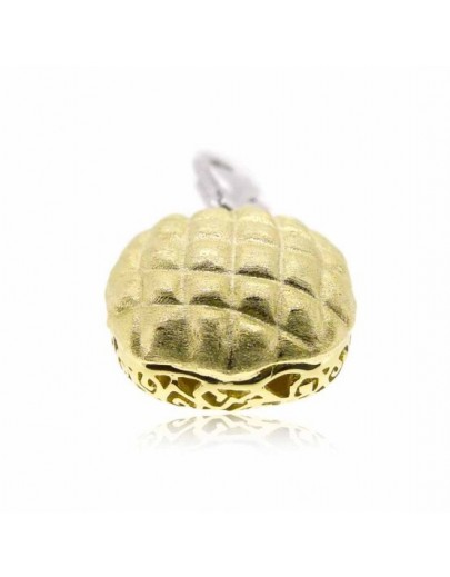 "HK023~ 925 Silver Pineapple Bun Charm(15mm) with 7.5"" Silver Bracelet"