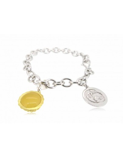 "HK029~ 925 Silver Egg Tart Charm(15mm) with Rice Yellow Jade with 7.5"" Silver Bracelet"
