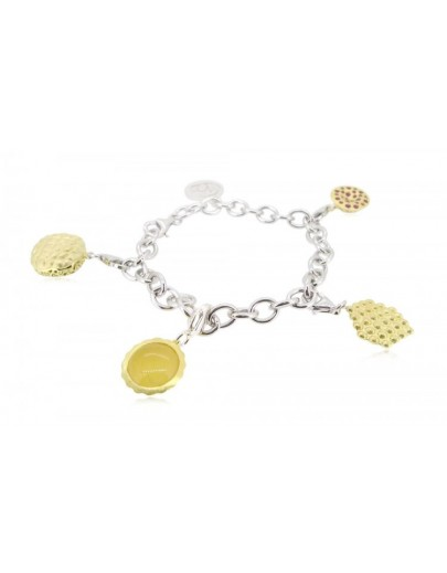 "HK033~ 925 Silver Hong Kong Street Snack Charms(x4) with 7.5"" Silver Bracelet"