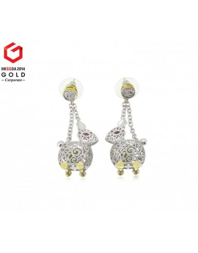 HK039~ 925 Silver Rabbit Lantern Earrings