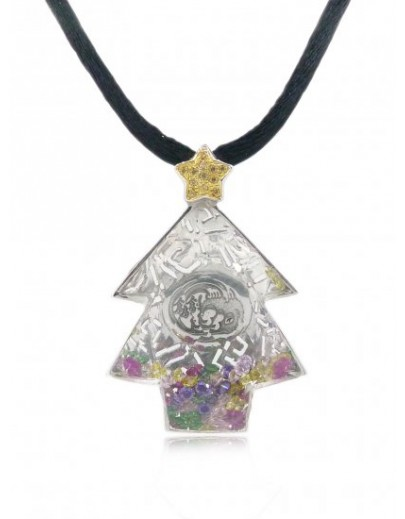 "HK042~ 925 Silver Chrismas Tree Crystal Pendant with 32""Black Silk Cord"
