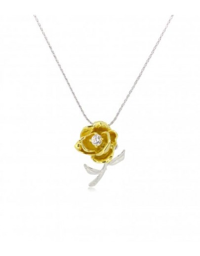 "HK043~ 925 Silver Rose Pendant with 18"" Silver Necklace"