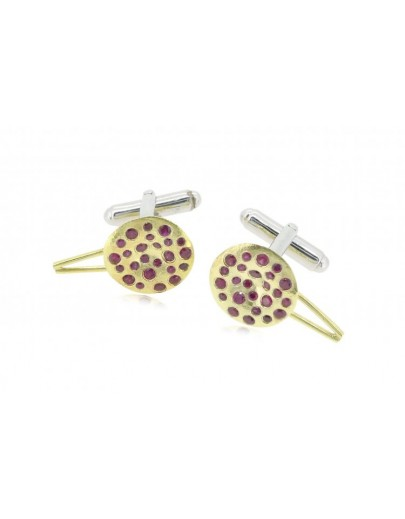 HK049~ 925 Silver Chinese Pudding Cuff Link(15mm) per pair
