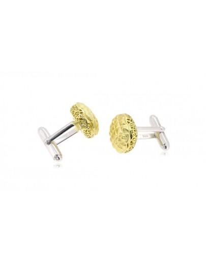 HK051~ 925 Silver Pineapple Bun Cuff Link(15mm) per pair