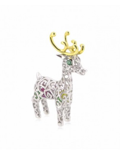 "HK052~ 925 Silver Christmas Deer Pendant (BIG) with 24"" Silver Necklace"