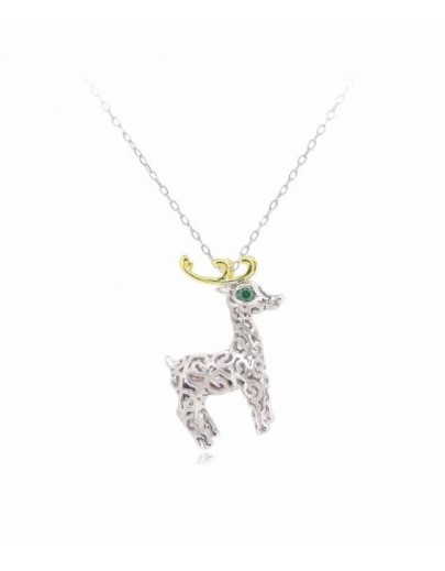 "HK053~ 925 Silver Christmas Deer Pendant (small) with 18"" Silver Necklace"