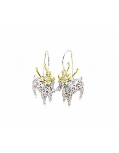 HK054~ 925 Silver Christmas Deer Earrings