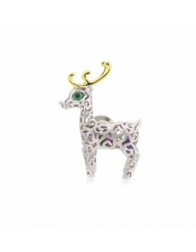 HK055~ 925 Silver Christmas Deer Brooch