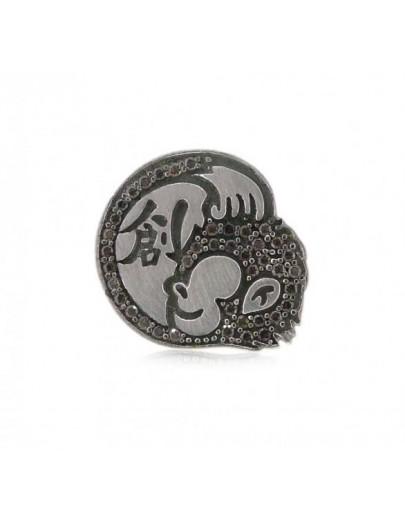 HK056~ 925 Silver Hong Kong Oapes Logo Brooch