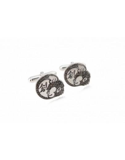 HK057~ 925 Silver Hong Kong Oapes Logo Cuff Link