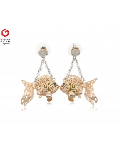 HK059~ 925 Silver Goldfish Lantern Earrings