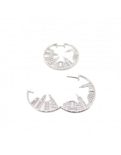 HK063~ 925 Silver Victoria Harbour View Earrings (28mm)