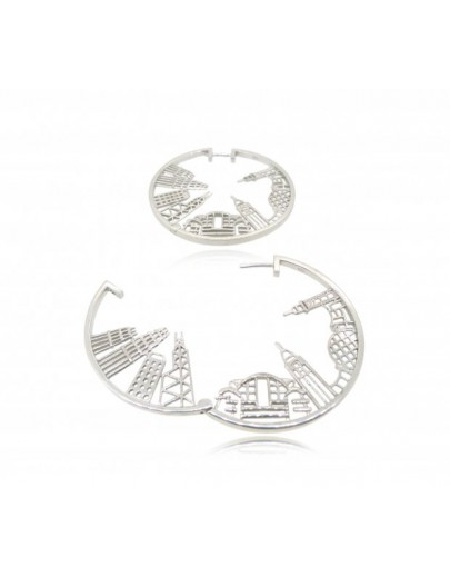 HK064~ 925 Silver Victoria Harbour View Earrings (43mm)