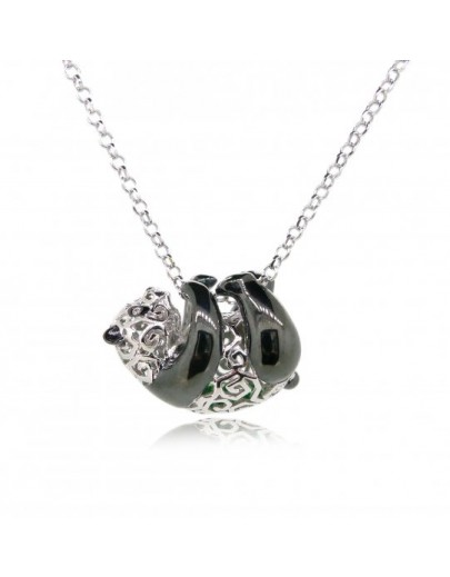 "HK066~ 925 Silver Panda Pendant with 18"" Necklace"