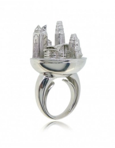 HK074~ 925 Silver Victoria Harbour View Ring (with Yacht)
