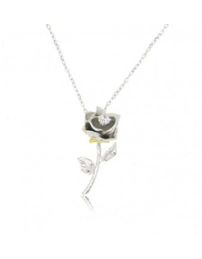 "HK080~ 925 Silver Rose Pendant with 18"" Silver Necklace"