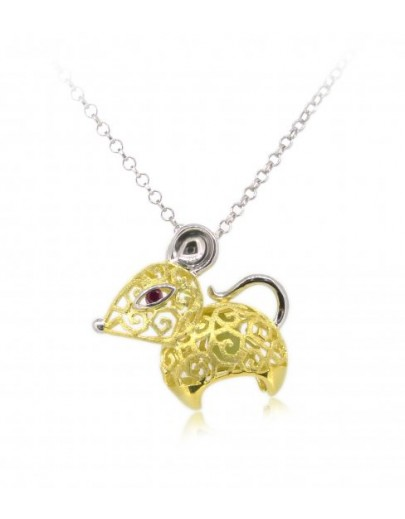 "HK084-s1~ 925 Silver Rat Shaped Lantern Pendant with 18"" Silver Necklace"