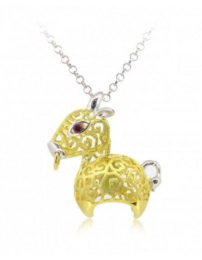 "HK085-s1~ 925 Silver Ox Shaped Lantern Pendant with 18"" Silver Necklace"