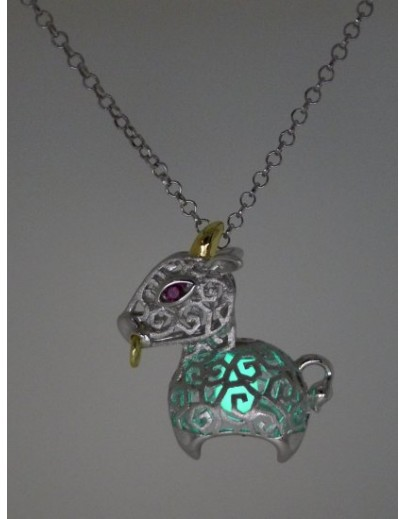 "HK085~ 925 Silver Ox Shaped Lantern Pendant with 18"" Silver Necklace"