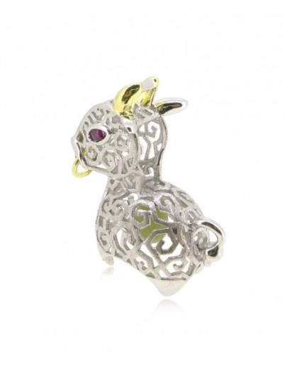 """HK085~ 925 Silver Ox Shaped Lantern Pendant with 18"""" Silver Necklace"""