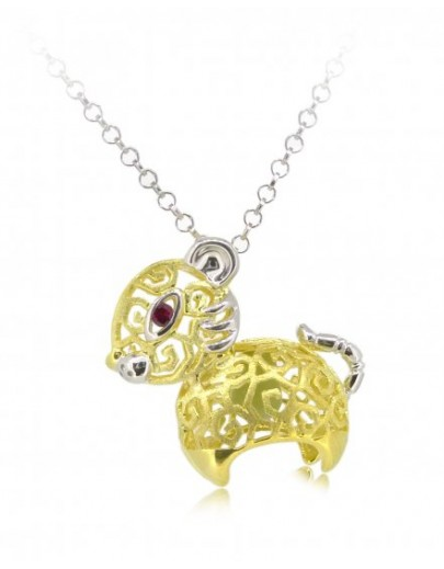 "HK086-s1~ 925 Silver Tiger Shaped Lantern Pendant with 18"" Silver Necklace"