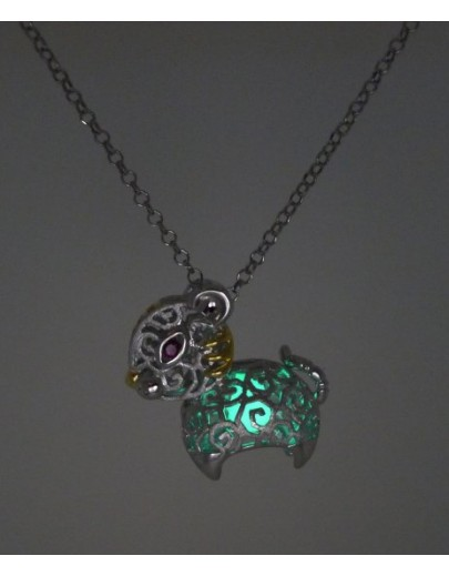 "HK086~ 925 Silver Tiger Shaped Lantern Pendant with 18"" Silver Necklace"