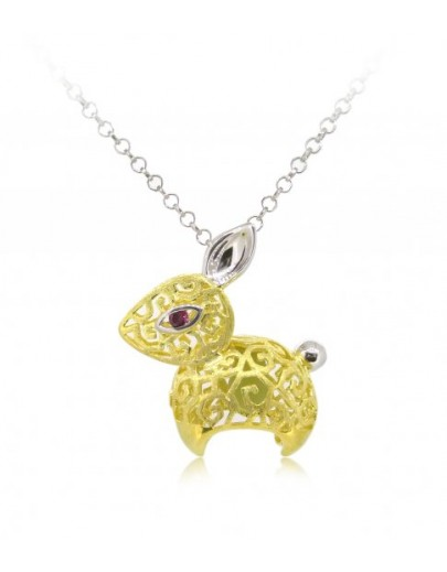 "HK087-s1~ 925 Silver Rabbit Shaped Lantern Pendant with 18"" Silver Necklace"