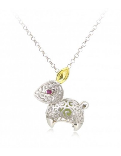 "HK087~ 925 Silver Rabbit Shaped Lantern Pendant with 18"" Silver Necklace"