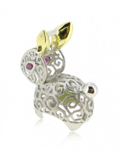 """HK087~ 925 Silver Rabbit Shaped Lantern Pendant with 18"""" Silver Necklace"""