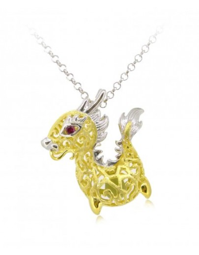 "HK088-s1~ 925 Silver Dragon Shaped Lantern Pendant with 18"" Silver Necklace"