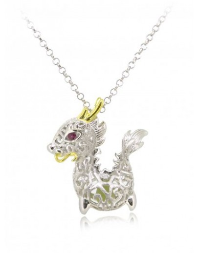 "HK088~ 925 Silver Dragon Shaped Lantern Pendant with 18"" Silver Necklace"