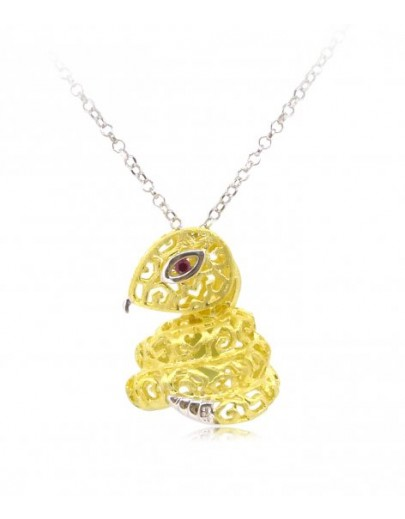 "HK089-s1~ 925 Silver Snake Shaped Lantern Pendant with 18"" Silver Necklace"
